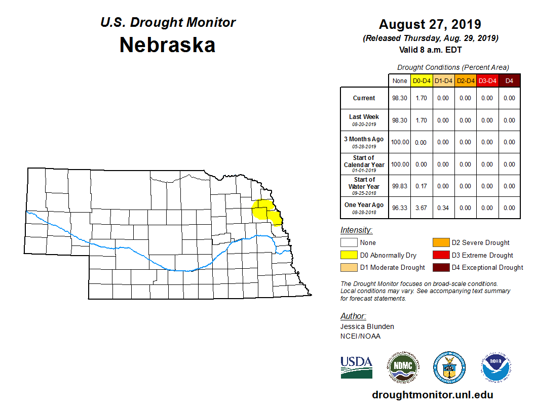 U.S. Drought Monitor Aug. 28, 2019